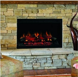 The ClassicFlame 36 features a traditional log set with multi-function remote control and a fixed tempered glass panel to give the look of a built-in.