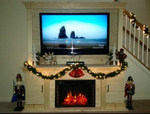 AKDY 28 inch Black Electric Firebox Fireplace Heater Insert W:Remote Azfl-EF05-28r Christmas setting