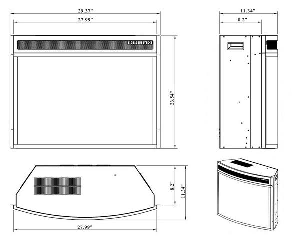 AKDY 28 Black Electric Firebox Fireplace Heater Insert dimensions