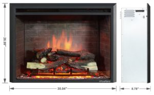 Puraflame Western 33 Embedded Electric Firebox with Heater and Remote Control - dimensions