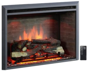 Puraflame Western 33 Embedded Electric Firebox with Heater and Remote Control - front view