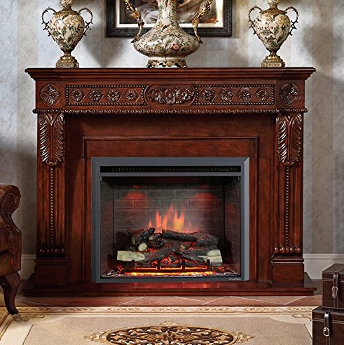 Puraflame Western 33 Embedded Electric Firebox with Heater and Remote Control - traditional room