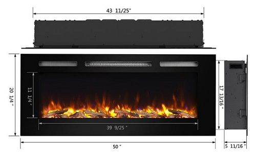Electric fireplace specifications